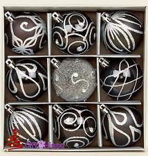 Christmas Tree Decoration - 60mm Black Baubles - 9 Shatterproof Baubles