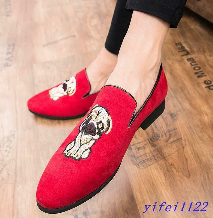 2019 Spring Mens Embroidered Dog Flats Velvet Loafers Oxfords Dress Casual shoes