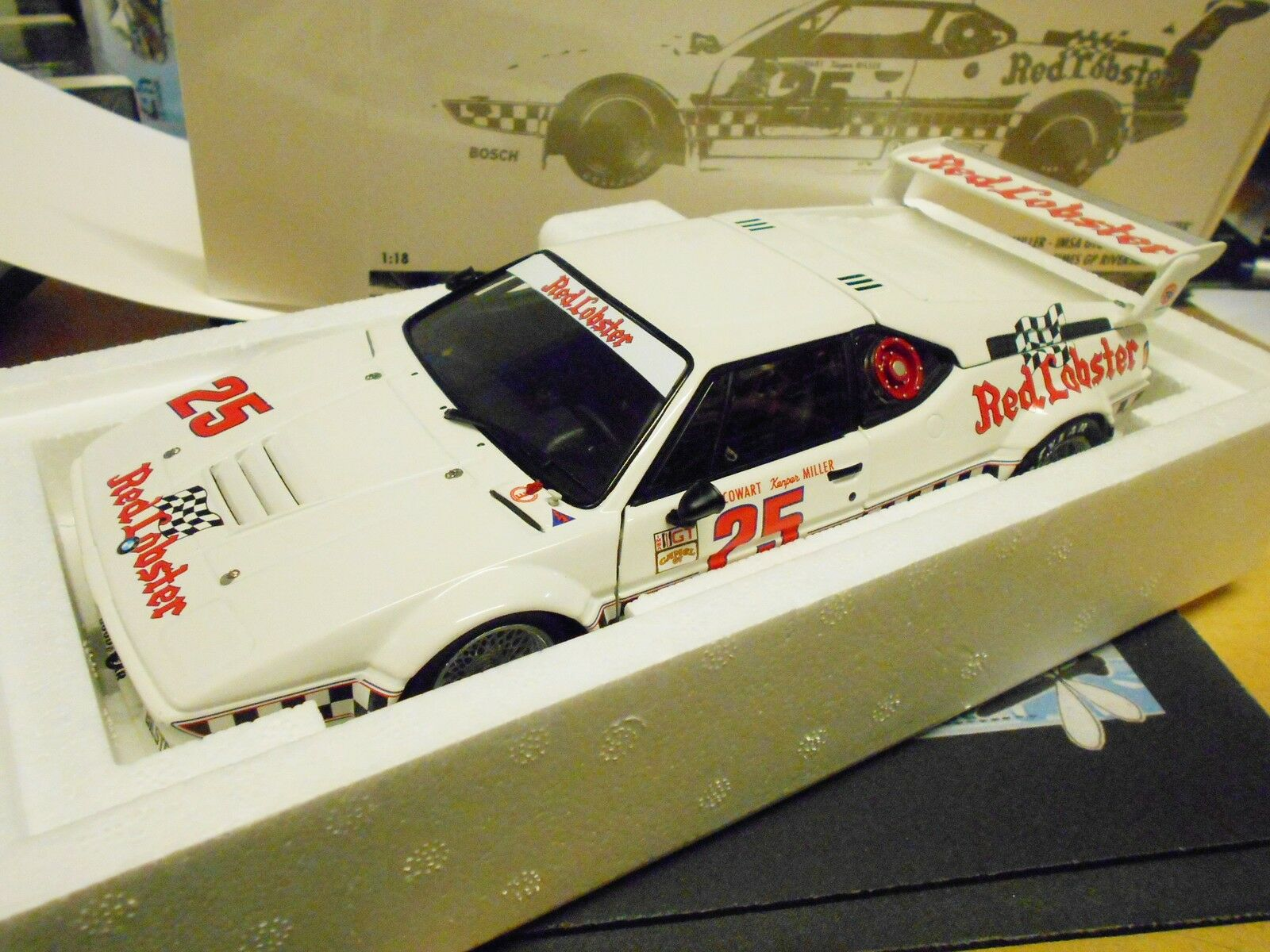 BMW m1 e26 GTO la GP WINNER rosso Lobster 1981 Cowart Mller US NUOVO Minichamps 1 18