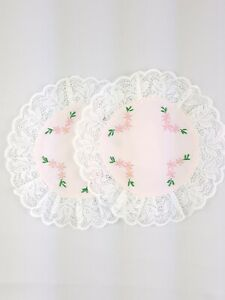 Vintage-Embroidered-Doily-Lace-Trim-Pink-White-Flowers-Cottage-Decor-Handmade