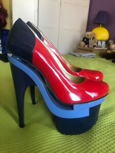 3d60a563266 New VERSACE Patent Leather Triple Platform Red and Blue Pump Shoes ...
