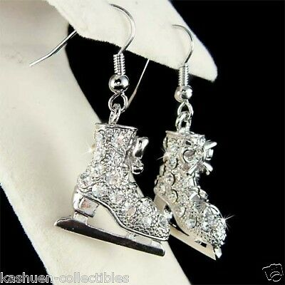 Roller Skate Clear Crystals Fashion French Hook Earrings