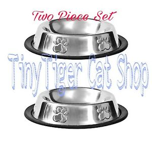 2 PC SET Stainless Steel Pet Bowls cat dish little puppy dog food bowl anti skid