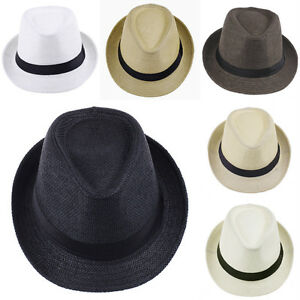 c30d5195b2bef Image is loading Summer-Beach-Sunhat-Fedora-Trilby-Straw-Hat-Gangster-