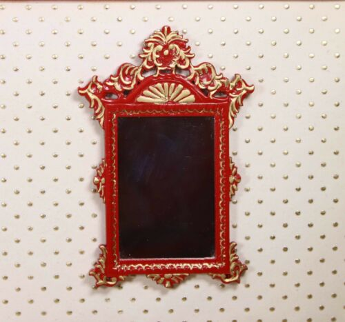 Asian Wall Mirror Red MUSEUM QUALITY DOLLHOUSE FURNITURE 1:12 or 1 Scale BESPAQ
