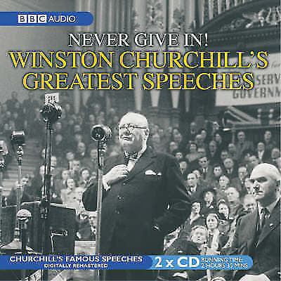 1 of 1 - NEVER GIVE IN - WINSTON CHURCHILL'S GREATEST SPEECHES CD AUDIO BOOK NEW UNSEALED