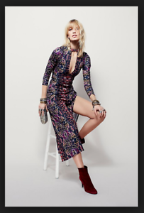 7a655a16b2b NEW Free People Cabaret Printed Maxi Dress Plunging V Long Sleeve Keyhole S