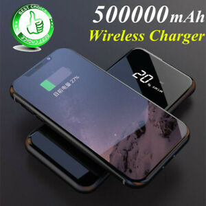 2019-Mirror-Power-Bank-500000mAh-Qi-Wireless-Charger-Portable-External-Battery