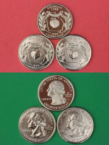 1999 D P S Georgia State Quarters From Proof /& BU Mint Sets Combined Shipping