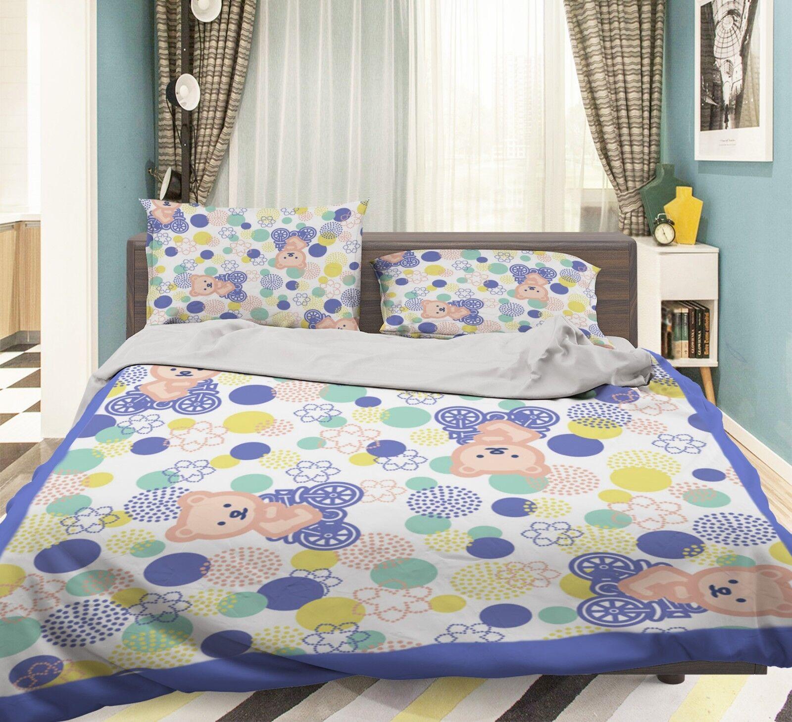 3D Cartoon Bear 677 Bed Pillowcases Quilt Duvet Cover Set Single King UK Summer