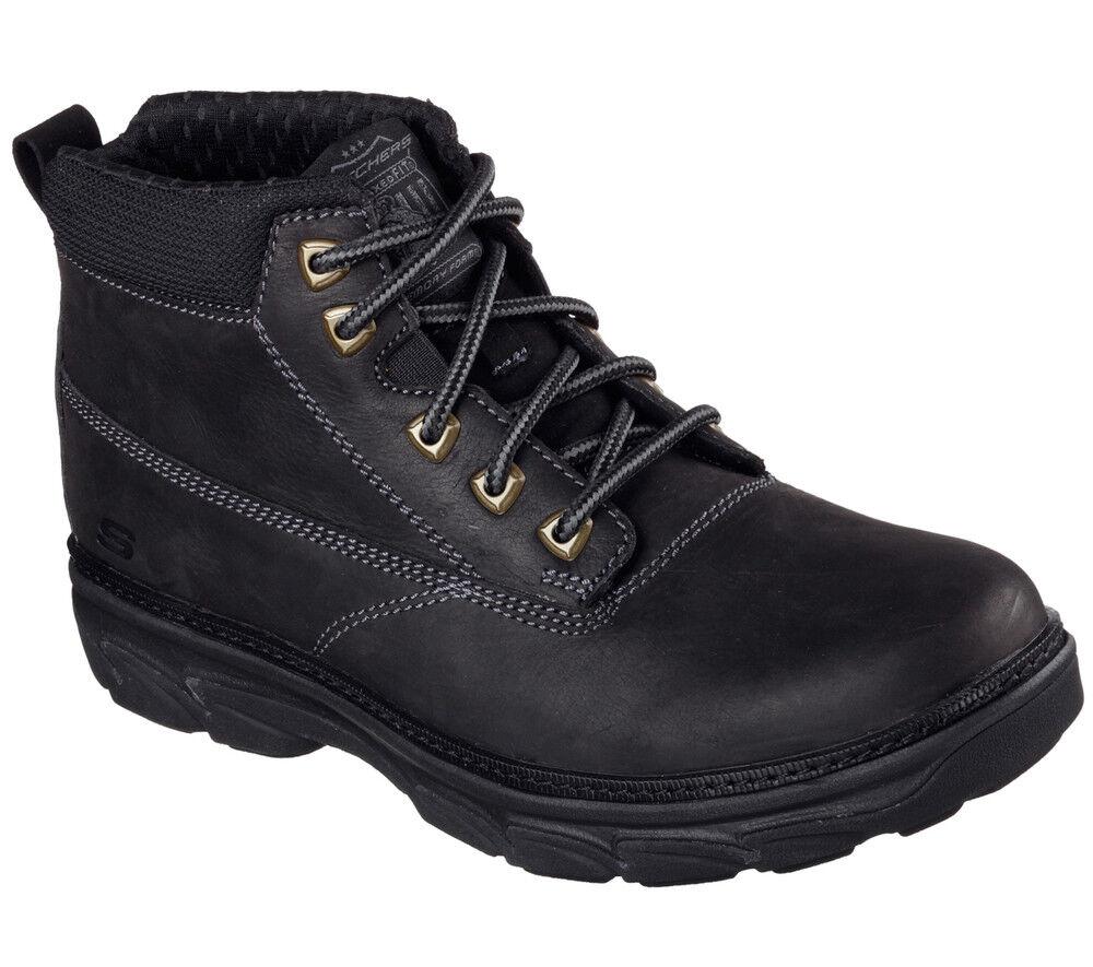 NEU SKECHERS Herren Stiefel Worker Boots Leder Memory Foam RESMENT ALENTO Black