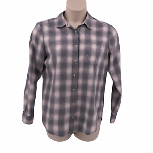 Stylus-Womens-Blouse-Shirt-Size-Large-Long-Sleeve-Gray-Plaid-Button-Front-Collar