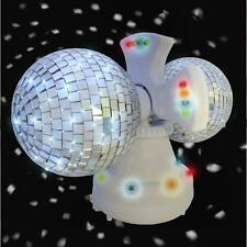 Twin Mirror Rotating Disco Glitter Ball White 4 inch 32 LEDs DJ Party Light