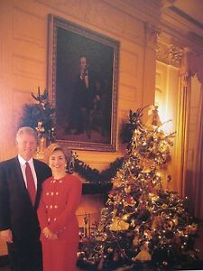 Hillary Clinton Christmas.Details About 1993 Christmas Gift Print Card Bill Clinton Hillary Clinton White House Tree