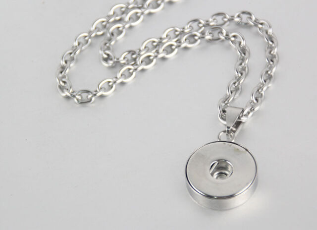 10pcs//lot 18mm Snap Chunk Pendant Necklace Stainless Steel Chain NN-080*10