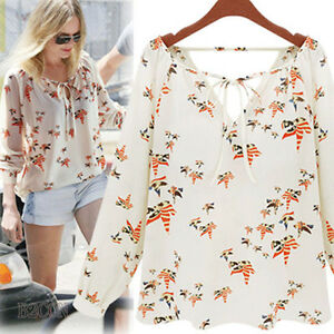 AU-Summer-Womens-Long-Sleeve-Tops-Casual-Loose-Chiffon-Shirt-Floral-Print-Blouse