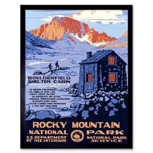 Travel Rocky Mountain National Park Cabin Snow Usa 12X16 Inch Framed Art Print