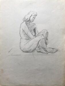 Dibujo-Esbozo-Studie-Sentada-Mujer-Desnudo-Femenino-Desnudo-25-X-33CM