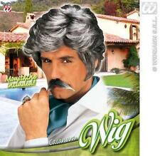 New Mens Dark Grey Casanova Wig With Moustache 70'S 80'S Fancy Dress