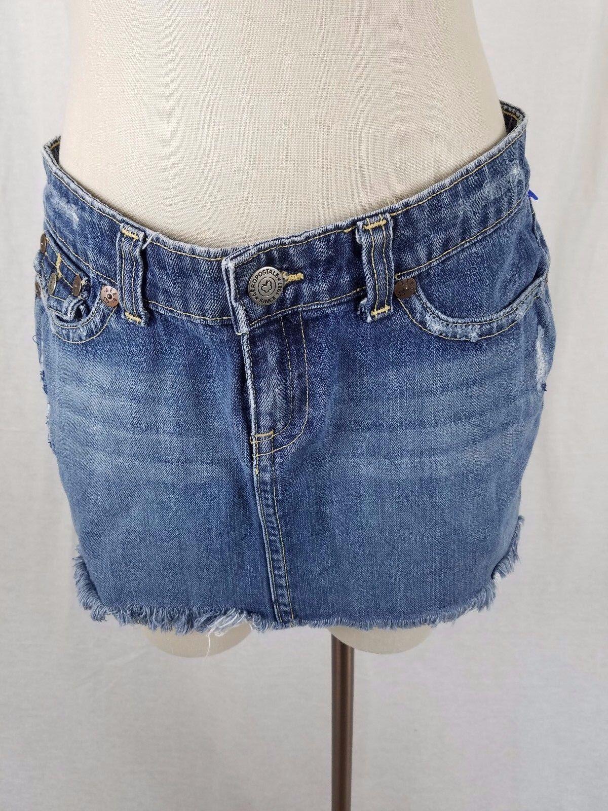 Aeropostale Distressed Destroyed Denim bluee Jean Mini Skirt Womens Juniors 9 10