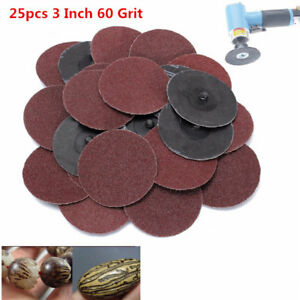 25pcs 3 Inch 75mm 60 Grit Sanding Discs Abrasive Roll Lock Sandpaper