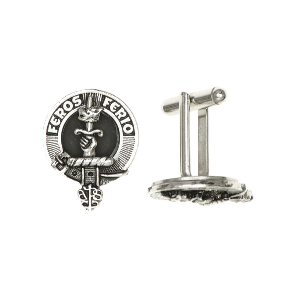Clan Crest Chrome Finish Cufflinks - Various Clans Available