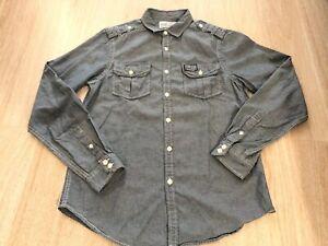 Mark-Ecko-Cut-amp-Sew-Blue-Denim-Button-Down-Shirt-100-Cotton-Men-s-Size-Small