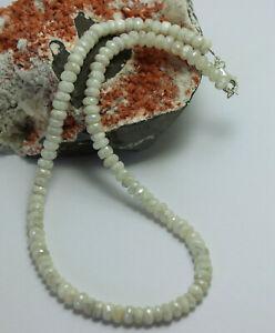 Weisser-Saphir-Kette-edelsteinkette-facettierte-Rondell-halskette-Saphire-45-cm