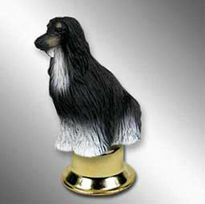 Afghan Dog Figurine Lamp Light Finial Hand Painted Black White