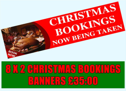 PVC Banners 8 X 2 ft Christmas bookings pub banner xmas party festive function 2