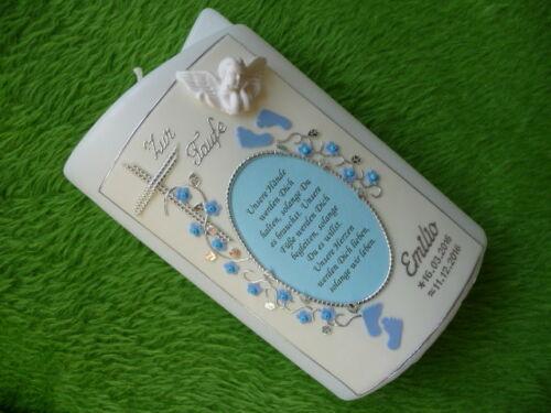 Taufkerze Junge Engel Spruch blau inkl Kerzenkarton