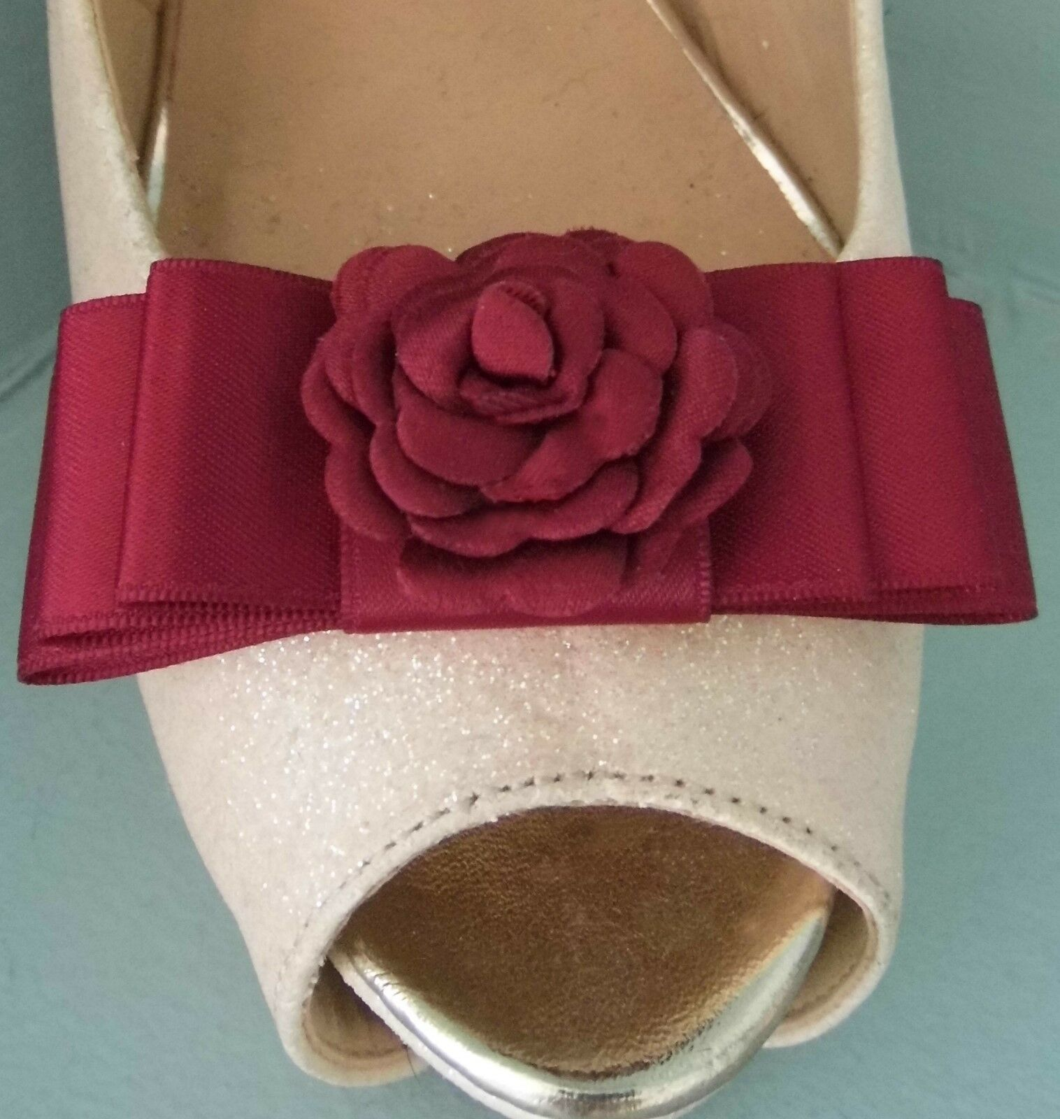 2 Burgundy Red Satin Bow Clips for Shoes with Flower Centre