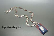 Vintage art deco machine age red enamel blue Galalith pendant necklace