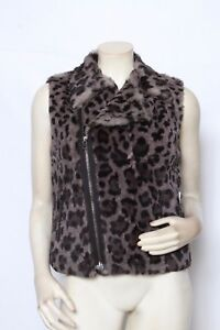 JOSEPH-Grey-Black-Rabbit-Fur-Leopard-Marge-Animal-Print-Vest-Size-FR-38-US-6-M