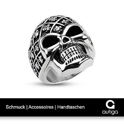 Autiga Ring Herren Edelstahl Fleur De Lis Schwertlilie Biker Gothic
