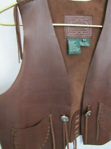 Ralph-Lauren-Brown-Leather-Vest-Size-Small-Turquoise-Silver-Southwestern-Cowgirl