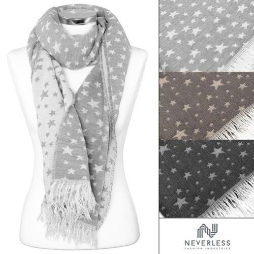 Damen Strickschal Sternen Fransen Schal Winterschal Feinstrick Made in Italy
