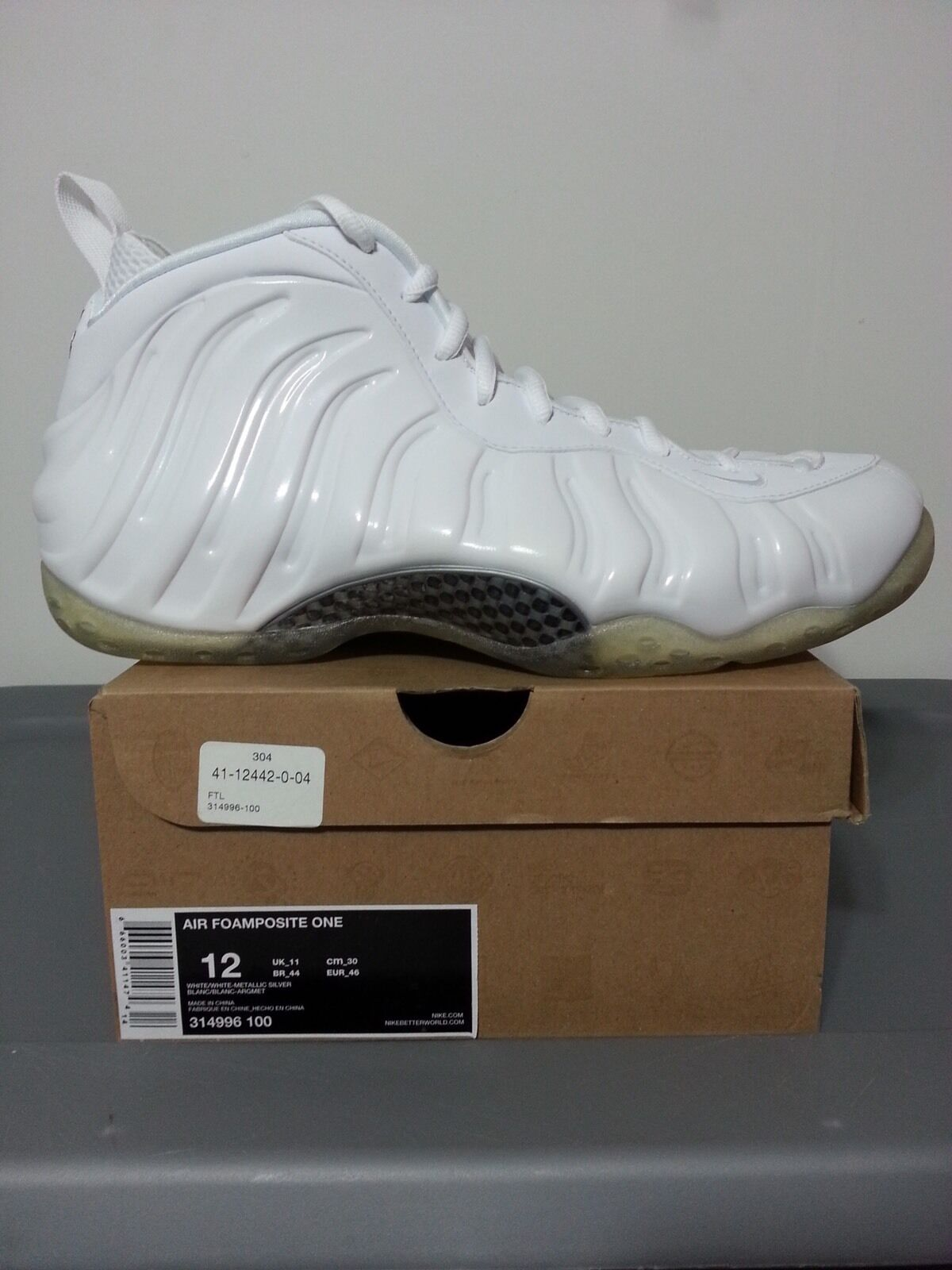 DS 2012 NIKE AIR FOAMPOSITE ONE WHITE OUT SIZE 12 PENNY LEBRON JORDAN