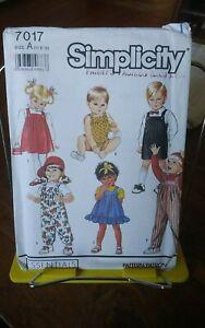 Vtg-Simplicity-7017-toddlers-jumper-sundress-overalls-bubble-suit-sz-6m-3-NEW