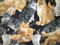 Cat Realistic Cats Black Fleece Fabric