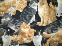 Cat Realistic Cats Black Fleece Fabric
