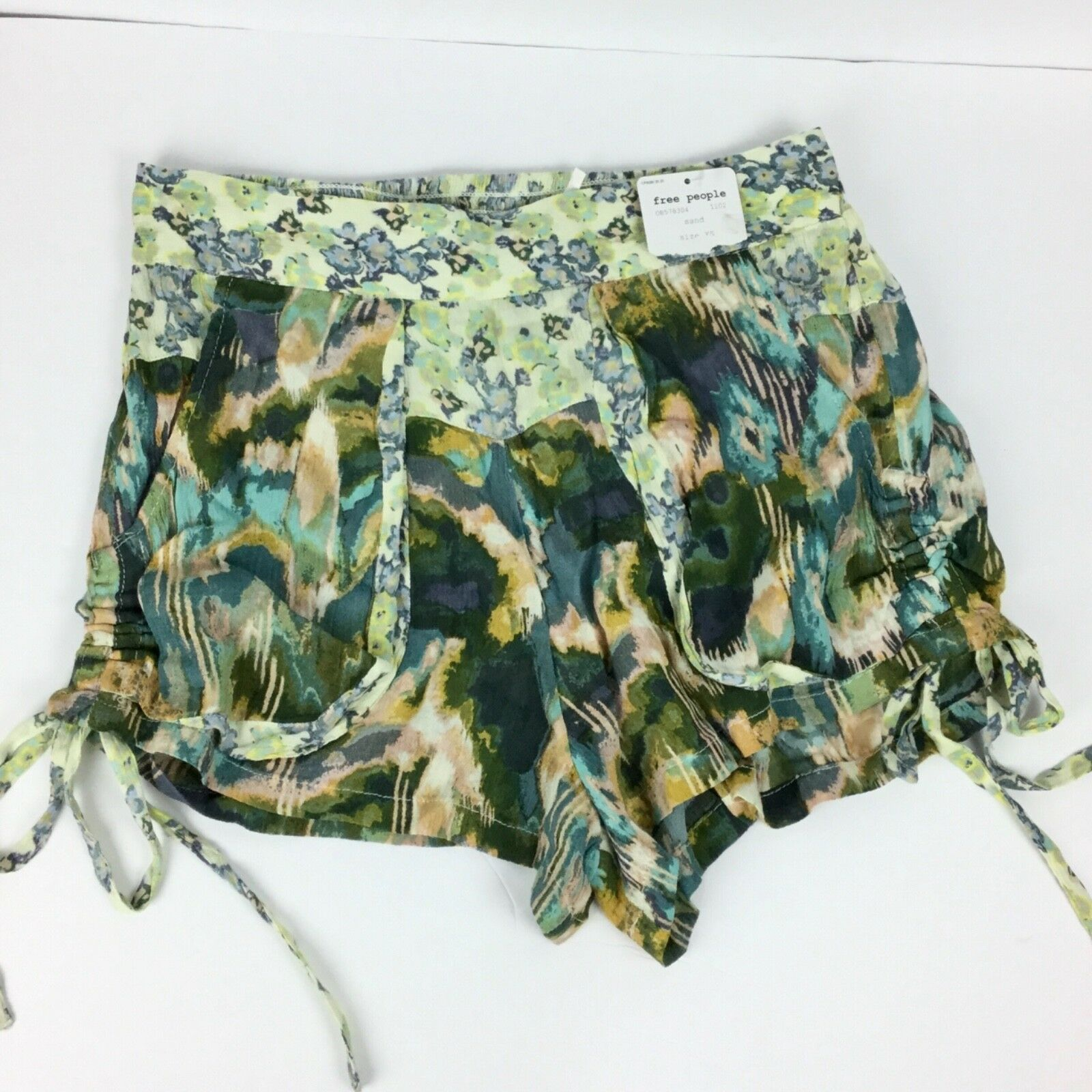 Free People Womens XS Shorts Elastic Libson NWT Casual Green Side Tie A15-23