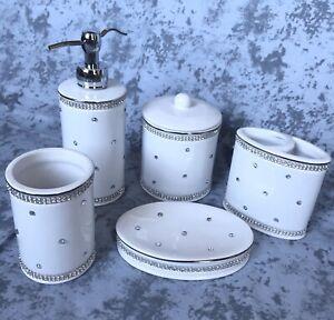 BELLA LUX Rhinestones Crystal White Holder Bath Jar Cotton Ball Container w//Lid