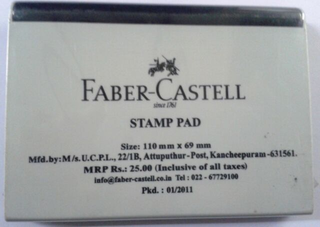 Faber Castell Stamp Pad Black Ink Rubber 110mmx69mm