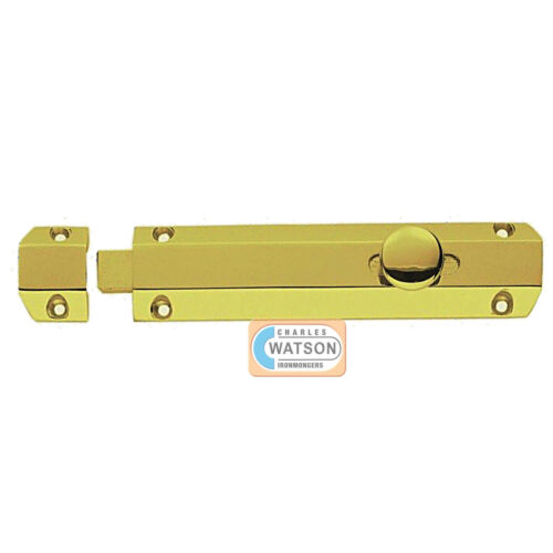 "CARLISLE BRASS AQ84 10/"" Polished Brass Door Surface Bolt Sliding Lock Gliding"