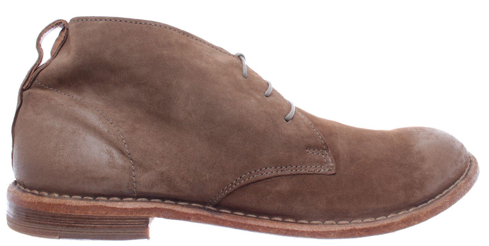 MOMA zapatos masculinos tobillos desierto botas 22902 - 4G Oliva gris cuero marrón