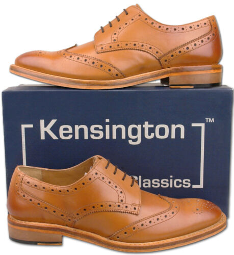 Mens New Tan Full Leather Formal Lace Up Brogues Shoes Size 6 7 8 9 10 11 12