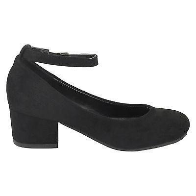 Girls Black Suedette Spot On Block Heel Party Shoes H3072