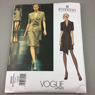 Vogue Pattern 2628 Alexander McQueen Givenchy Asymmetrical Dress Uncut Sz 14-18