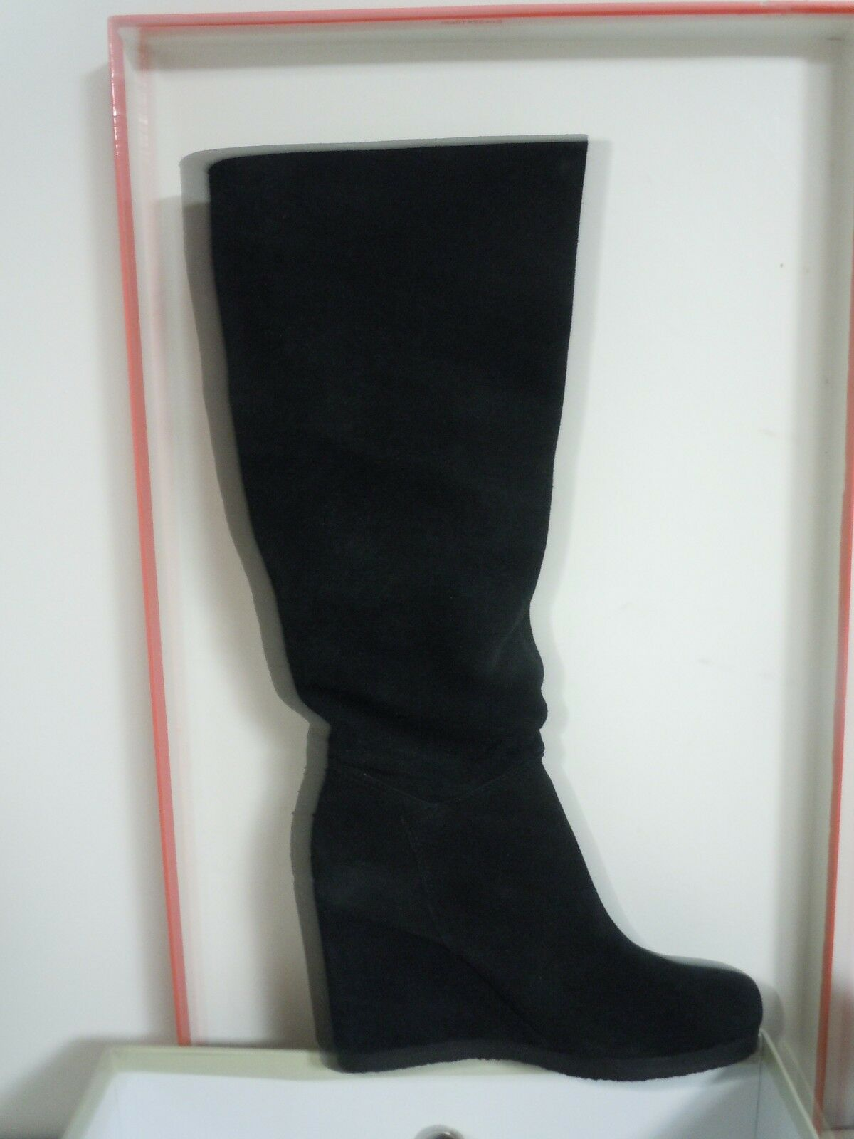 NEW WOMAN SUEDE BLACK WEDGE  BOOTS GUESS BY MARCIANO SIZE 6